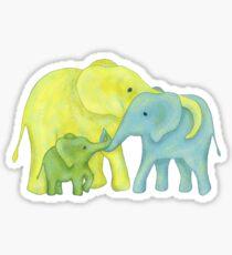Gelb, Blau und Grün Elefant Familie von drei Sticker