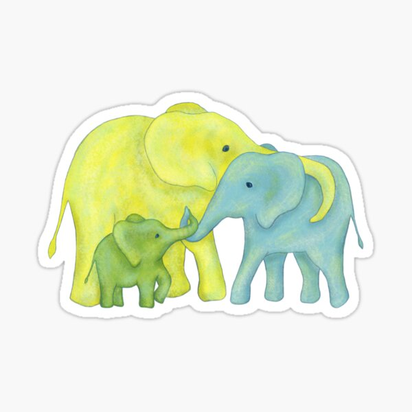 Yellow, Blue and Green Elephant Family of Three Sticker