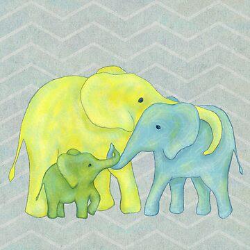 Elefante amarillo, azul y verde Familia de tres de ElephantTrunk