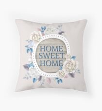 Home Sweet Home Floral Design Throw Pillow