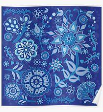 Indigo Floral on Indigo Poster