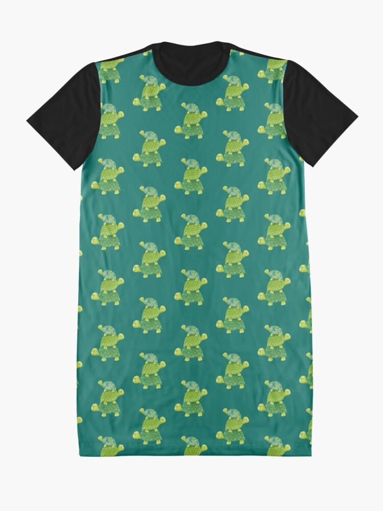 Vista alternativa de Vestido camiseta Linda pila de tortugas en verde azulado, verde lima y turquesa