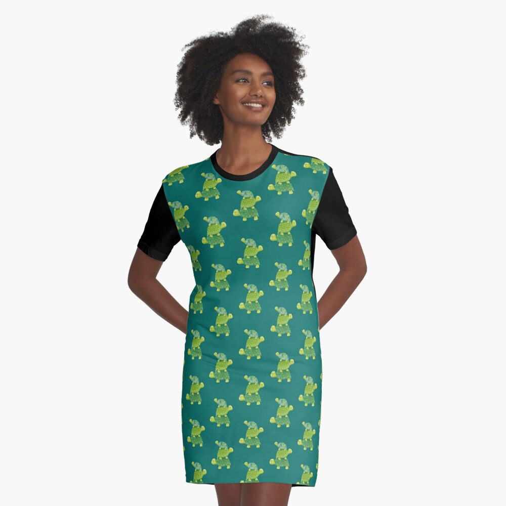Cute Turtle Stack in Teal, Lime Green and Turquoise Graphic T-Shirt Dress