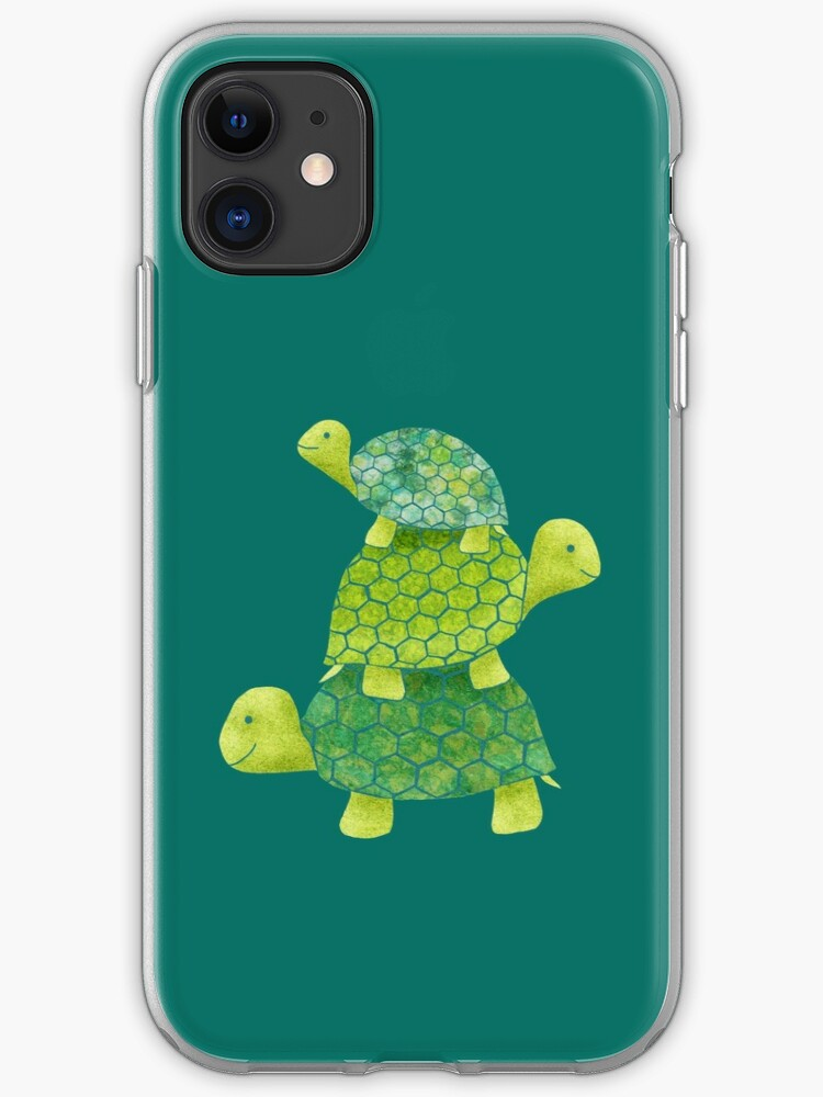 Cute Turtle Stack in Teal, Lime Green and Turquoise | iPhone Case & Cover