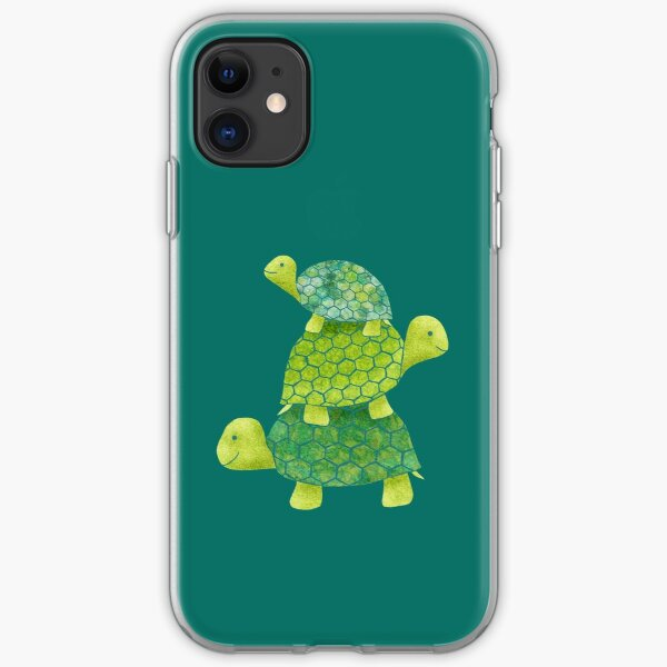 Cute Turtle Stack in Teal, Lime Green and Turquoise iPhone Soft Case