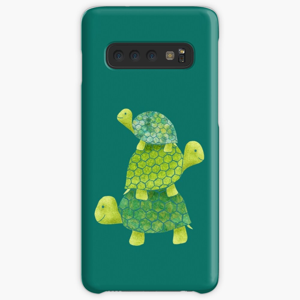 Cute Turtle Stack in Teal, Lime Green and Turquoise Case & Skin for Samsung Galaxy