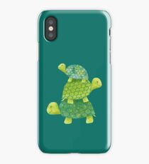 Cute Turtle Stack in Teal, Lime Green and Turquoise iPhone Case