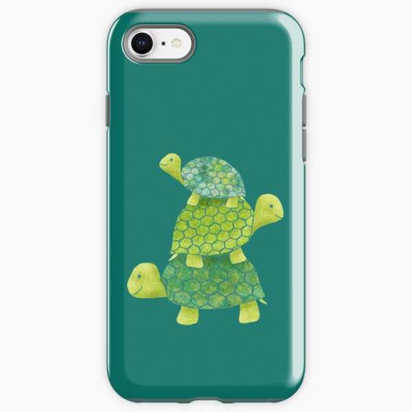 Cute Turtle Stack in Teal, Lime Green and Turquoise iPhone Tough Case
