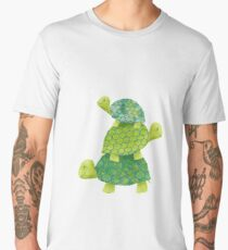 Cute Turtle Stack in Teal, Lime Green and Turquoise Men's Premium T-Shirt