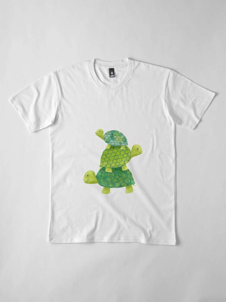 Alternate view of Cute Turtle Stack in Teal, Lime Green and Turquoise Premium T-Shirt