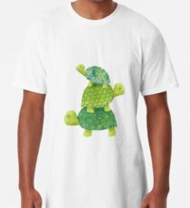 Cute Turtle Stack in Teal, Lime Green and Turquoise Long T-Shirt