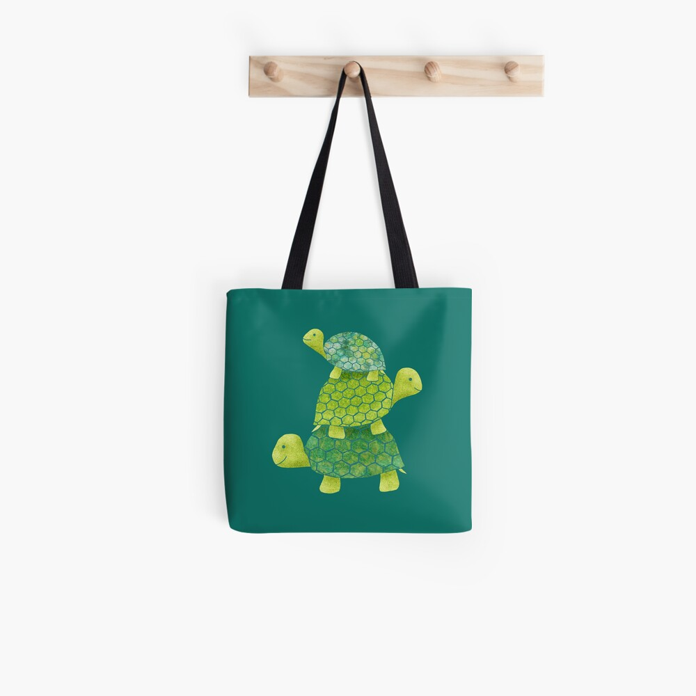 Cute Turtle Stack in Teal, Lime Green and Turquoise Tote Bag
