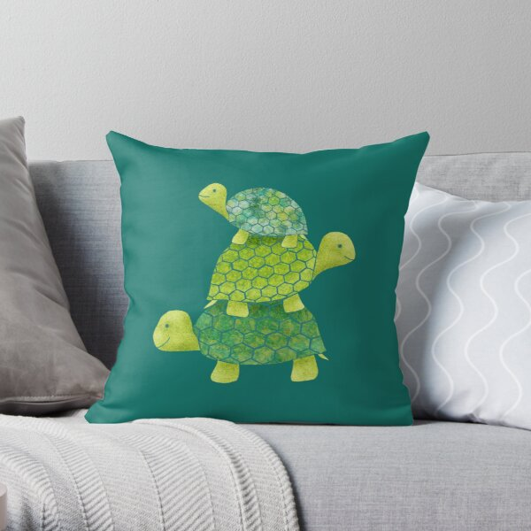 Cute Turtle Stack in Teal, Lime Green and Turquoise Throw Pillow