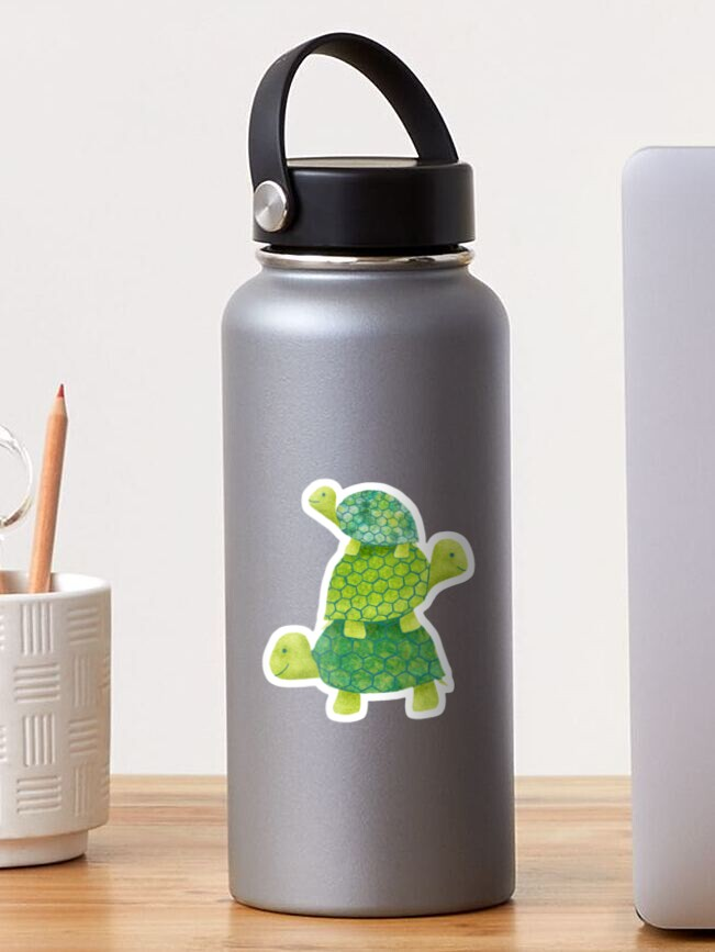 Cute Turtle Stack in Teal, Lime Green and Turquoise | Sticker