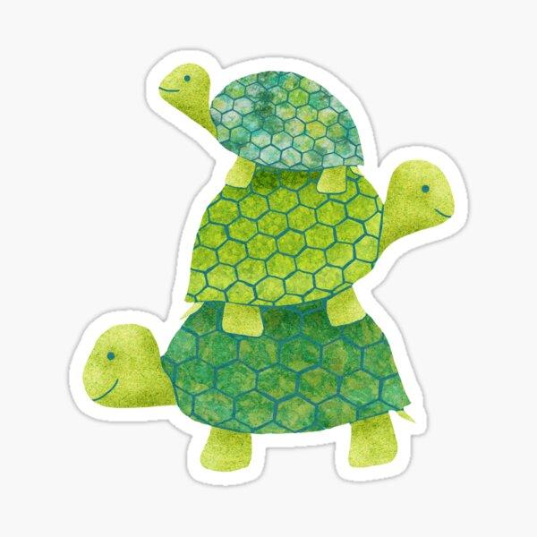 Linda pila de tortuga en verde azulado, verde lima y turquesa Pegatina