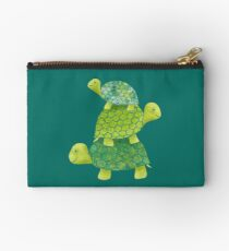 Cute Turtle Stack in Teal, Lime Green and Turquoise Studio Pouch