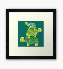 Cute Turtle Stack in Teal, Lime Green and Turquoise Framed Print