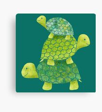 Cute Turtle Stack in Teal, Lime Green and Turquoise Canvas Print
