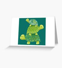 Cute Turtle Stack in Teal, Lime Green and Turquoise Greeting Card