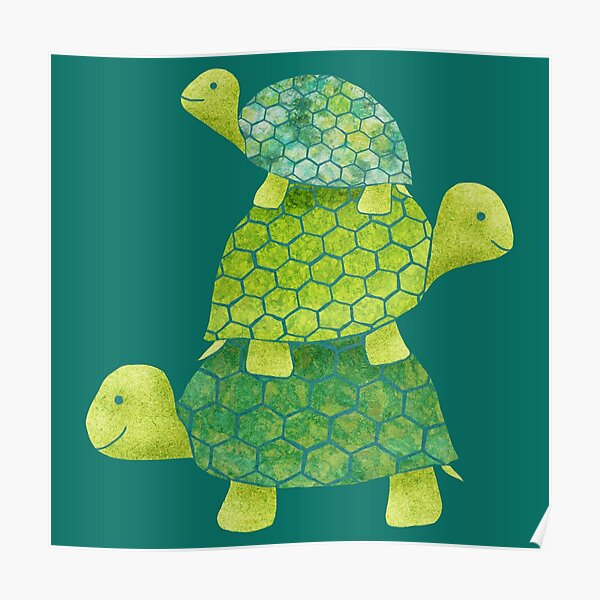 Cute Turtle Stack in Teal, Lime Green and Turquoise Poster