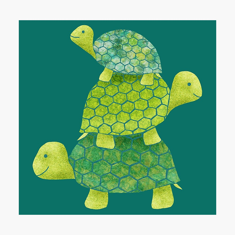 Cute Turtle Stack in Teal, Lime Green and Turquoise Photographic Print