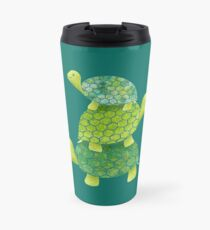 Cute Turtle Stack in Teal, Lime Green and Turquoise Travel Mug