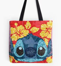 Geometric Stitch with Hawaiian Flowers  Tote Bag
