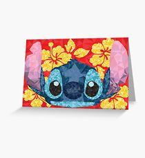 Geometric Stitch with Hawaiian Flowers  Greeting Card