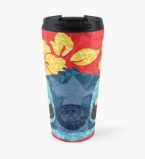 Geometric Stitch with Hawaiian Flowers  Travel Mug