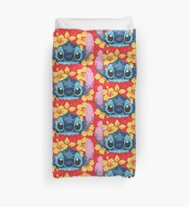 Geometric Stitch with Hawaiian Flowers  Duvet Cover