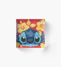 Geometric Stitch with Hawaiian Flowers  Acrylic Block