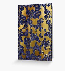 Marble background with geometric cube pattern.  Greeting Card