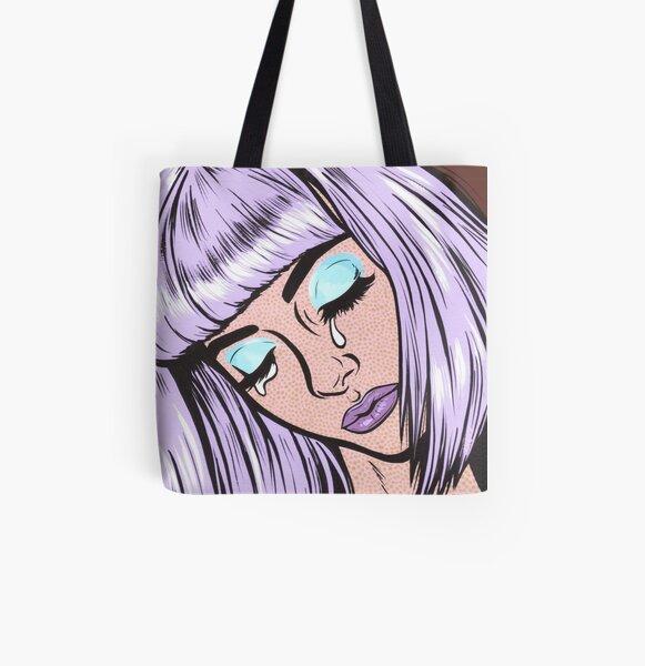 Lilac Bangs Crying Girl All Over Print Tote Bag