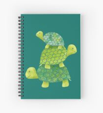 Cute Turtle Stack in Teal, Lime Green and Turquoise Spiral Notebook