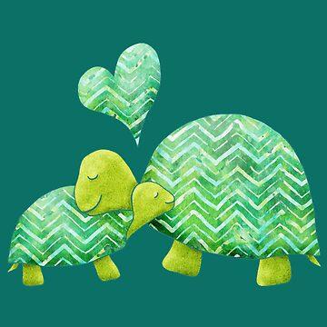 Sweet Turtle Hugs with Heart en verde azulado, verde lima y turquesa de ElephantTrunk