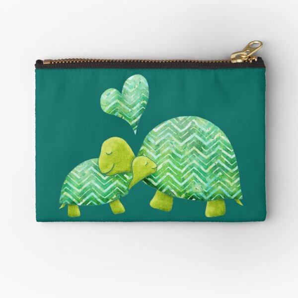Sweet Turtle Hugs with Heart in Teal, Lime Green and Turquoise Zipper Pouch