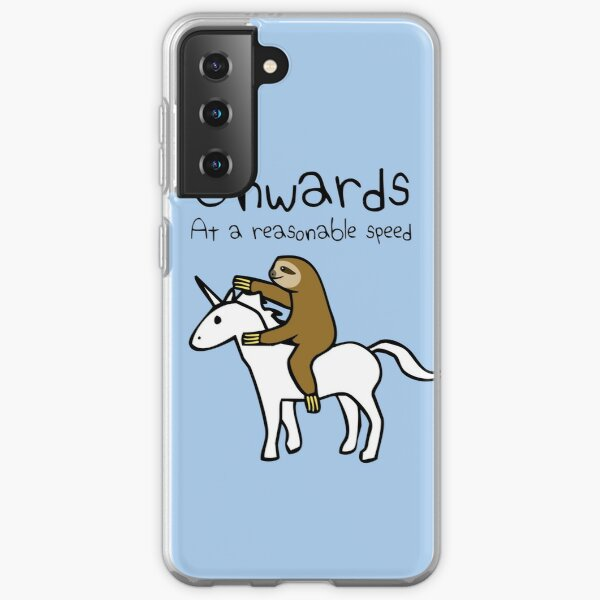 Onwards! At A Reasonable Speed (Sloth Riding Unicorn) Samsung Galaxy Soft Case