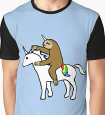 Slothicorn Riding Unicorn Graphic T-Shirt