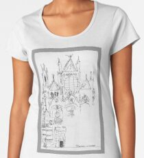 Italy- An early Pen and Ink of the Cathedral Facade in Siena Women's Premium T-Shirt
