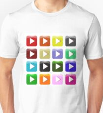 Vector Set of Colorful Play Icons Isolated on White Background. Glossy Colored Play Buttons T-Shirt