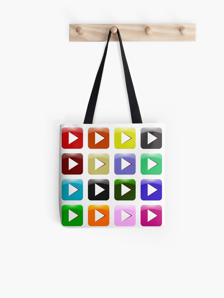 776ce43050d Vector Set of Colorful Play Icons Isolated on White Background. Glossy  Colored Play Buttons | Tote Bag