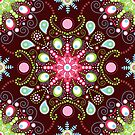 Pointillism mandala | Brown, red and green by camcreativedk