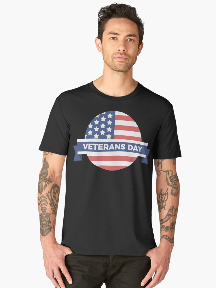 Veterans Day Commemorative Flag Design Men's Premium T-Shirt Front