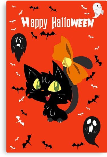 Orange Happy Halloween - Black Cat with a Bow by SaradaBoru