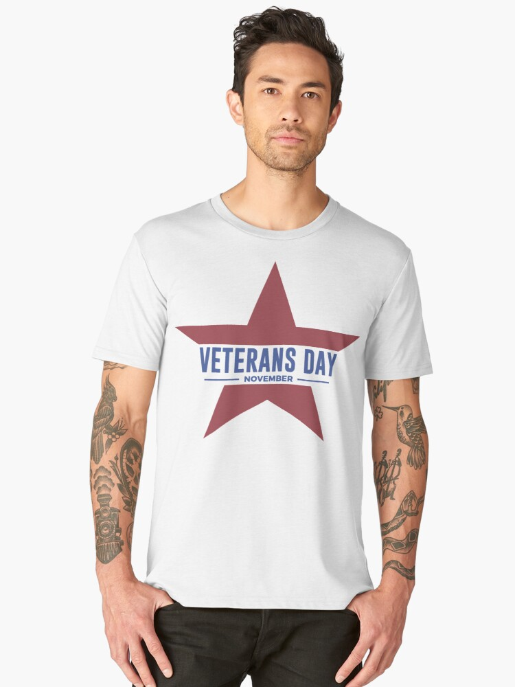 Veterans Day Commemorative Star Design Men's Premium T-Shirt Front