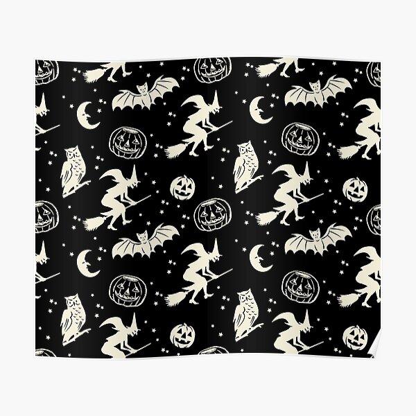 Bats & Jacks ~ Cream on Black Poster