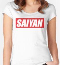 SAIYAN RED LOGO funny humor parody oryginal  Women's Fitted Scoop T-Shirt