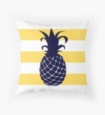 Navy Blue Pineapple On Mustard Yellow Stripes Throw Pillow