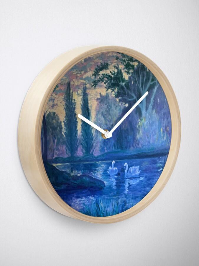 Alternative Ansicht von lila Schwäne Landschaft Uhr