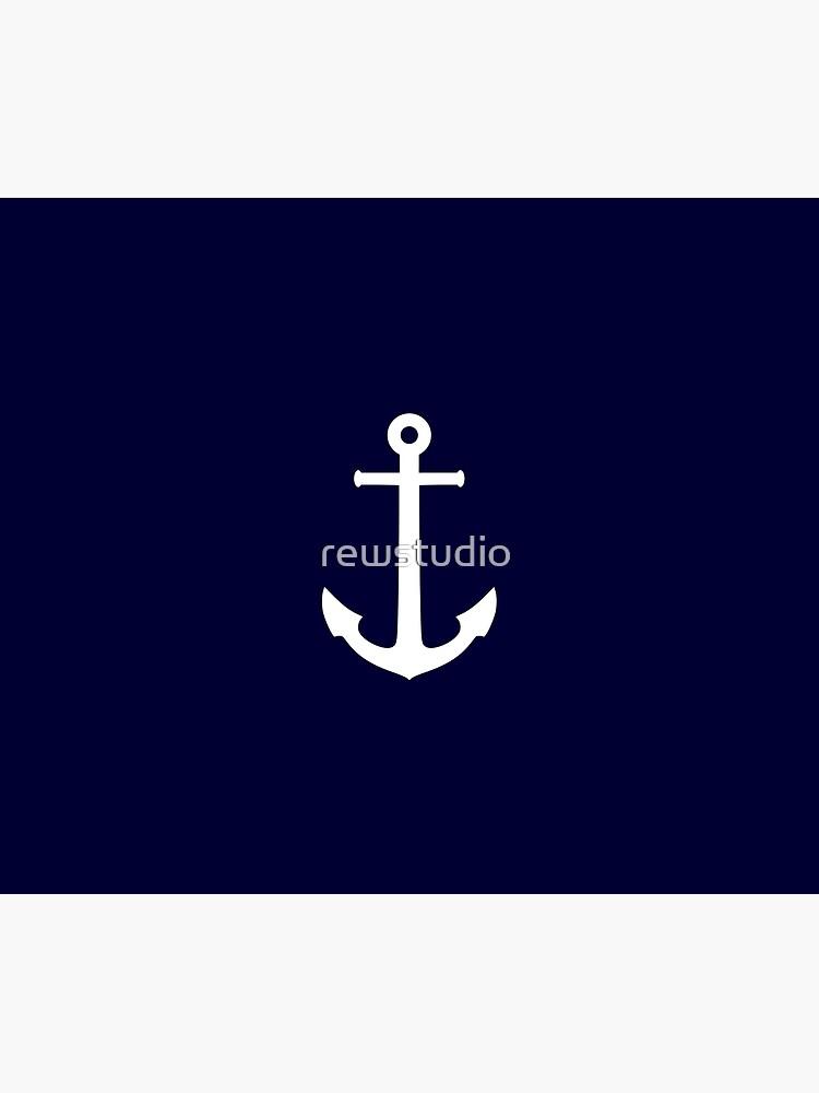 White Anchor On Navy Blue by rewstudio